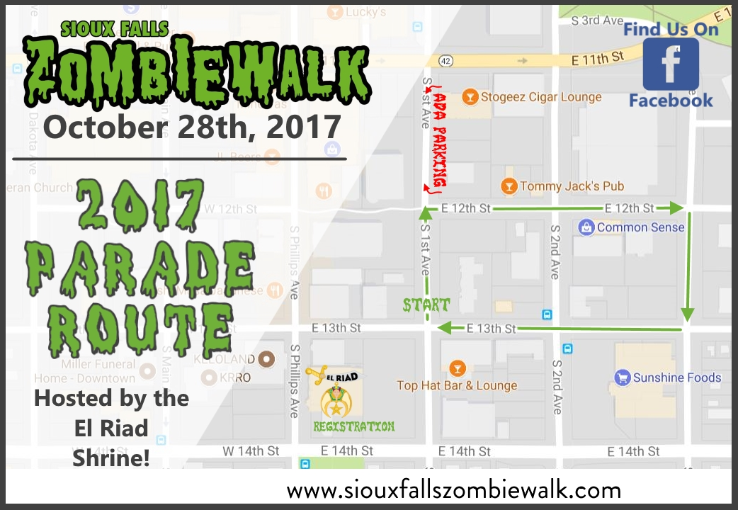 2017 Zombie Walk Route Map