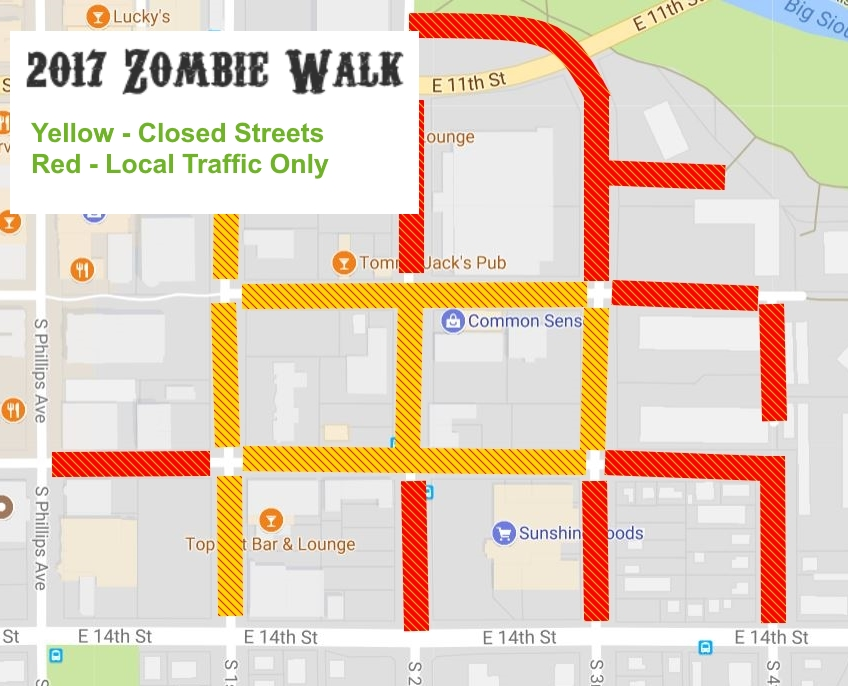 2017 Zombie Walk Street Closure Map